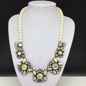 Ann Taylor Pearl Beaded Clear Rhinestone Necklace